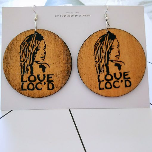 Exaggerated print geometric round painted portrait fashion wood earrings SZAX-239