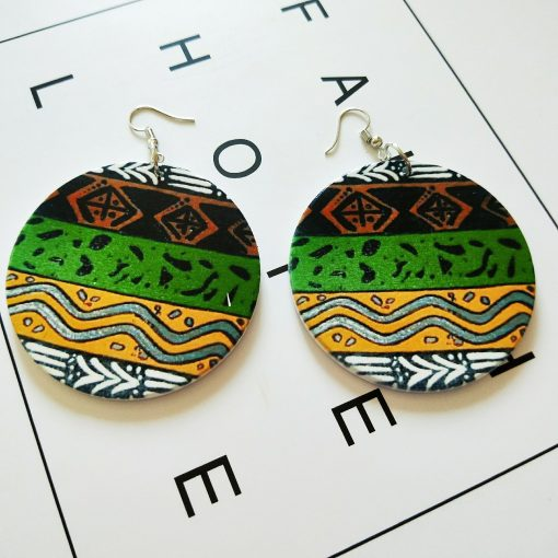 Exaggerated print geometric round fashion wood earrings SZAX-235