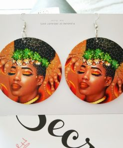 Women's popular new painted African portrait wooden earrings  SZAX-226