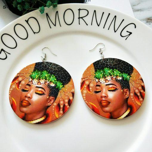 Women's popular new painted African portrait wooden earrings  SZAX-226