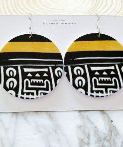 European and American popular printing ultra light geometric round wood earrings SZAX-268