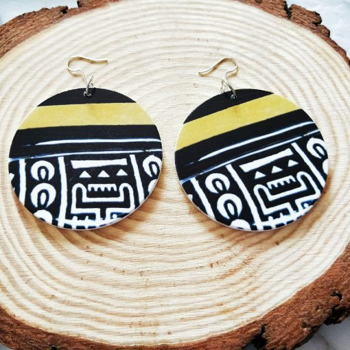 European and American popular printing ultra light geometric round wood earrings SZAX-268