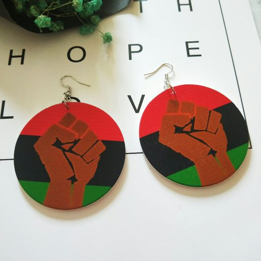 European and American popular printing ultra-light geometric round wood earrings SZAX-267