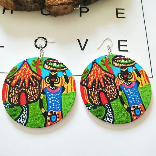 Popular printing African portrait round Fashion ultra light wood earrings SZAX-255