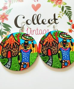 Popular printing African portrait round Fashion ultra light wood earrings SZAX-255