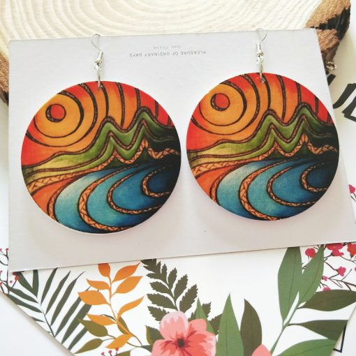 New popular exaggerated printed landscape pattern round wooden earrings SZAX-229