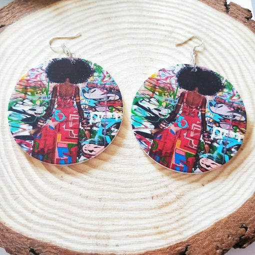 New popular exaggerated printed African image round wooden earrings SZAX-230
