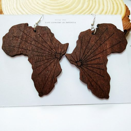 Europe and the United States popular Africa map pattern ultra-light geometric round wood earrings SZAX-266