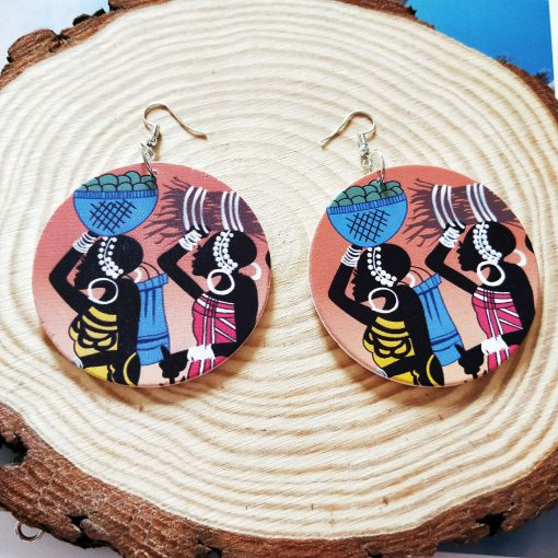 New African series painted popular wooden earrings SZAX-213