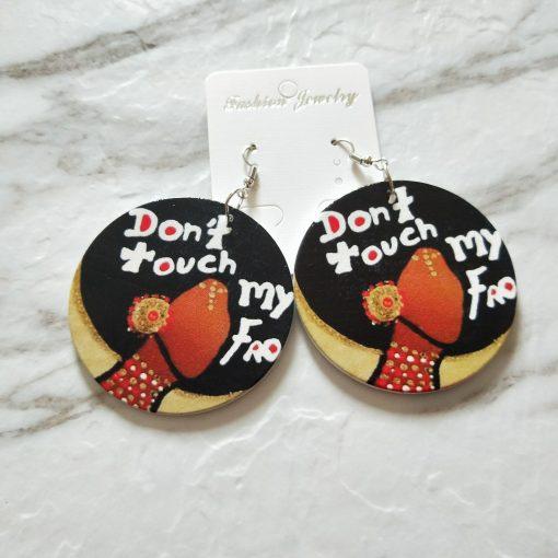New wooden earrings geometric African black engraving round earrings SZAX-197