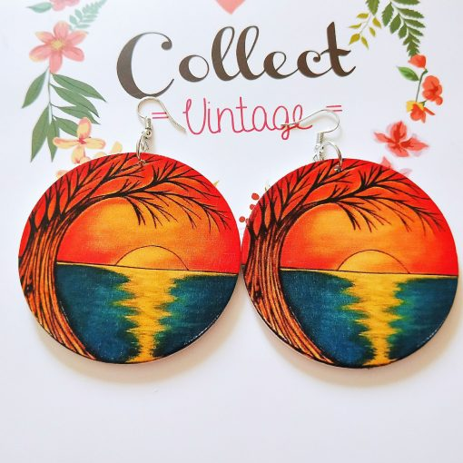 Europe and the United States popular African sunset pattern ultra-light geometric round wood earrings SZAX-265