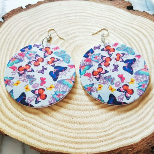 Popular new African series painted butterfly dance wooden earrings SZAX-214