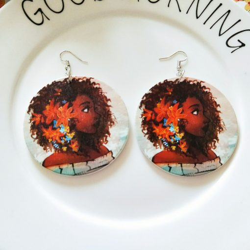 Europe and America exaggerated African head pattern geometric round wooden earrings SZAX-171