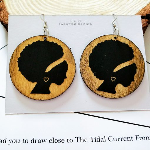 African series retro round printed personality wooden earrings SZAX-183