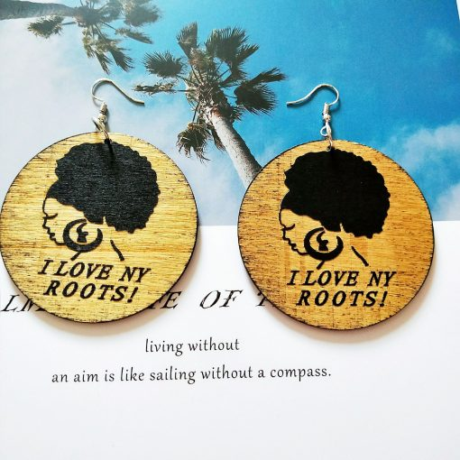 European and American popular African portrait round fashion wood earrings SZAX-252
