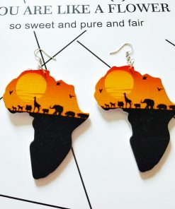 Europe and the United States popular Africa map design Fashion wood earrings SZAX-245