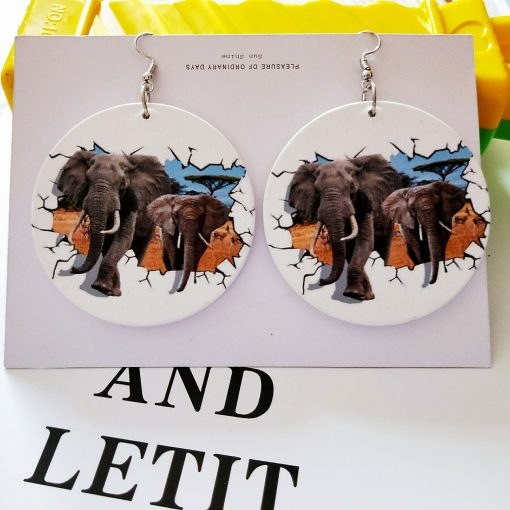 Exaggerated print geometric round painted elephant fashion wood earrings SZAX-236