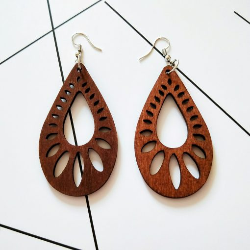 African vintage wooden drop-shaped laser cut personality exaggerated earrings SZAX-181