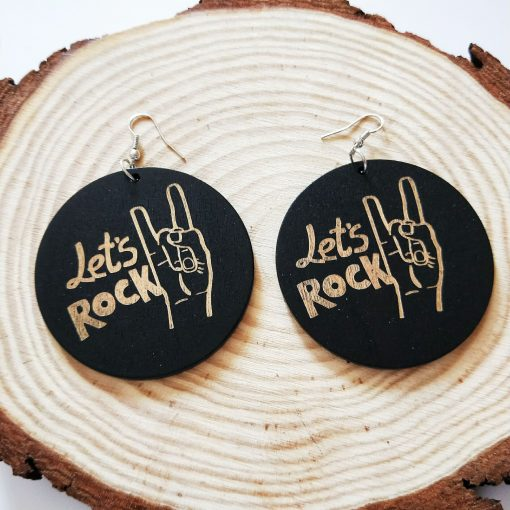 New popular exaggerated printed pattern round wooden earrings SZAX-228