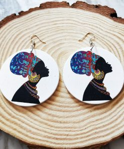 Exaggerated print geometric round painted African head portrait fashion wood earrings SZAX-238