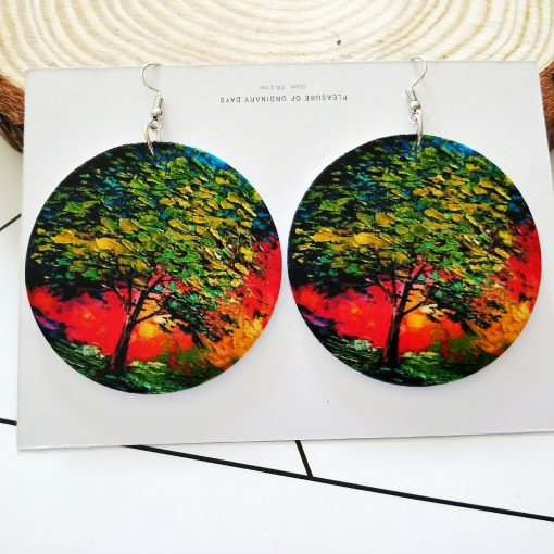 New popular exaggerated print life tree round wooden earrings SZAX-231
