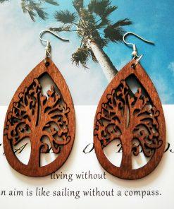 European and American popular life tree drop-shaped ultra-light geometric wood earrings SZAX-272