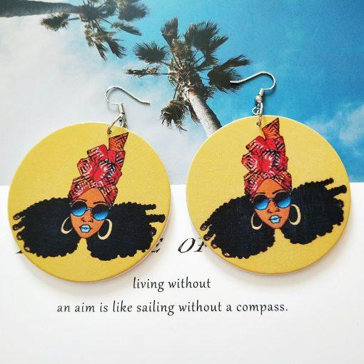 New wooden earrings geometric African black engraving round earrings SZAX-196
