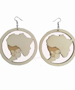 Europe and America Africa retro round engraving printed personality wooden earrings SZAX-180