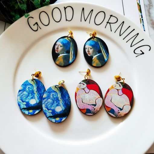 New oval painted wooden earrings 30*40mm SZAX-201
