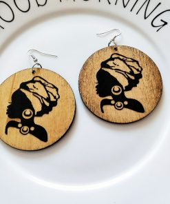 New African series painted popular wooden earrings SZAX-211