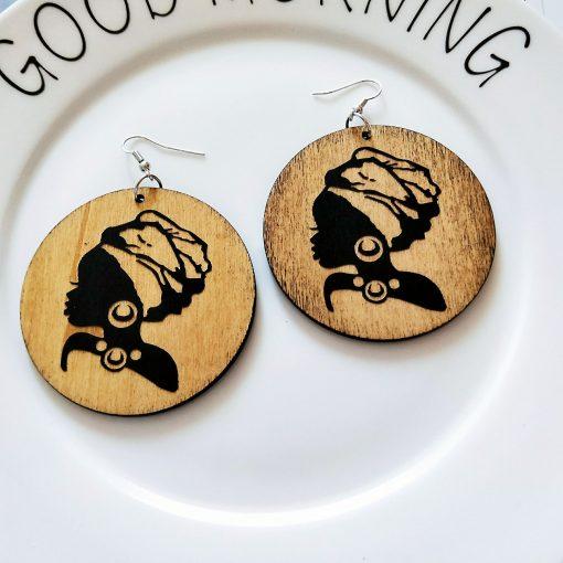 New African series painted popular wooden earrings SZAX-211