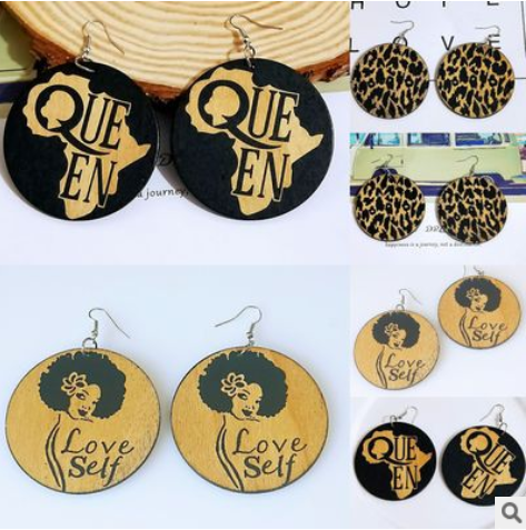 African vintage wooden geometric printing temperament personality exaggerated national style earrings SHAX-169