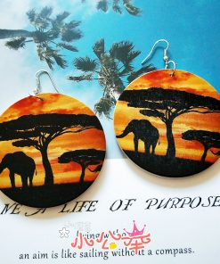 Europe and America exaggerated geometric round retro color nature view solid wood earrings SZAX-279
