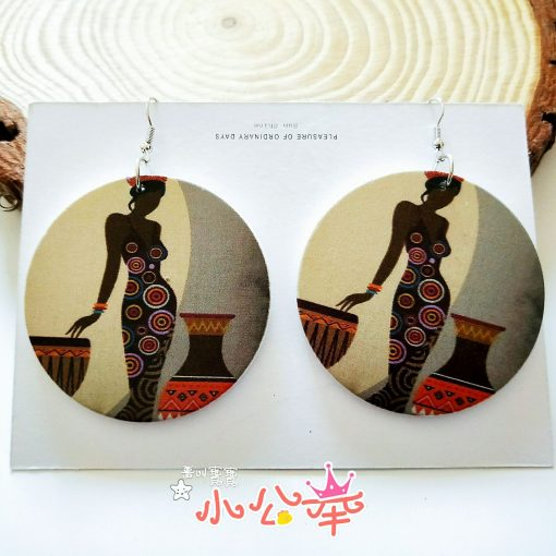 Europe and America exaggerated geometric round retro colored solid wood earrings SZAX-278