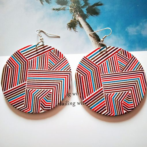 Europe and America exaggerated geometric round retro colored solid wood earrings  SZAX-276