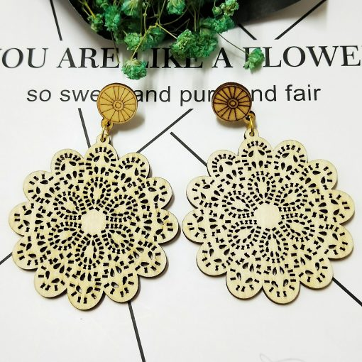 Women's personality simple retro wooden color hollow earrings ethnic style SZAX-281