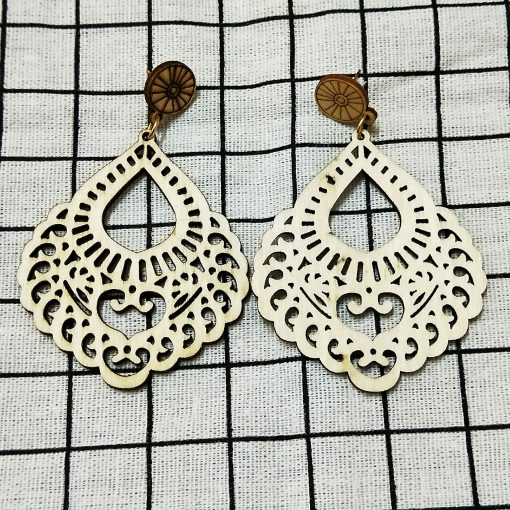 Female personality simple retro wood drop color hollow earrings ethnic style SZAX-283