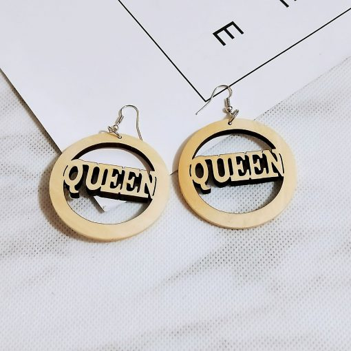 Fashion laser engraved wood color letter vintage earrings SZAX-285