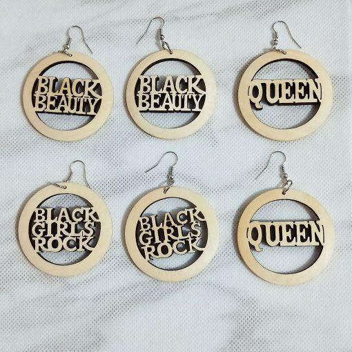 Fashion laser engraved wood color letter vintage earrings SZAX-285