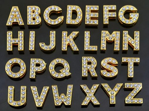 8 mm gold sliding letter for 8 mm wrist strap with steel keychain
