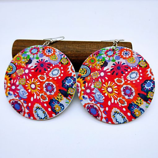 Europe and America exaggerated geometric round retro colored solid wood earrings mixed batch SZAX-275