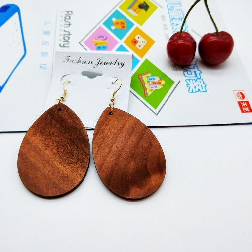 Europe and the United States popular bohemian color drop shape retro color solid wood earrings SZAX-274