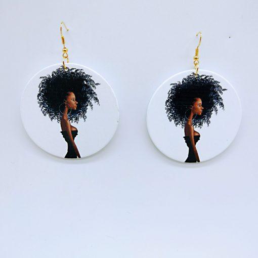 Woman's African Portrait Simple Vintage Print Round Geometric Wooden Stud Earrings SZAX-273