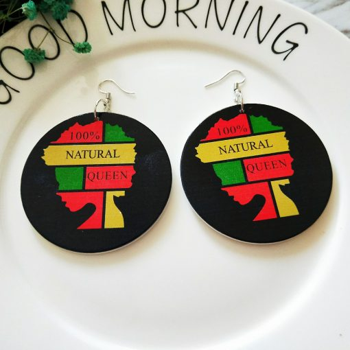 Europe and America exaggerated geometric round retro color African portrait solid wood earrings SZAX-280