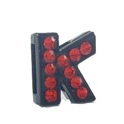 Sliding charm A-Z, black enamel red crystal 8 mm 10 pcs/bag