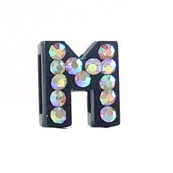 8 mm Sliding charm A-Z, black enamel AB crystal 10 pcs/bag