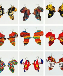 Africa map double-sided printed wooden earrings printing temperament exaggerated ear jewelry ethnic style Mixed batch SZAX-284