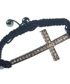 Hand woven cross bracelet- light blue-7-8 inch