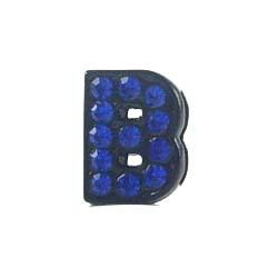 8 mm Sliding charm A-Z, black enamel Dark blue crystal 10 pcs/bag