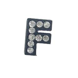 8 mm Sliding charm A-Z, black enamel white crystal 10 pcs/bag